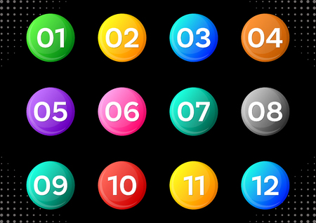Colorful circle buttons with white calendar month numbers Ilustracja