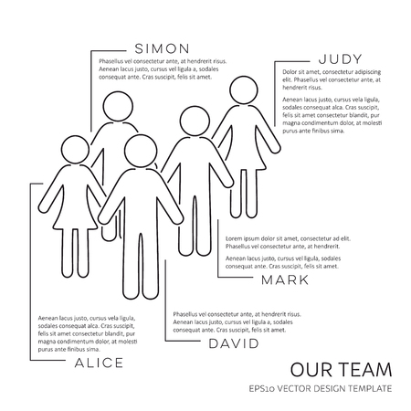 Black vector our team outline design template
