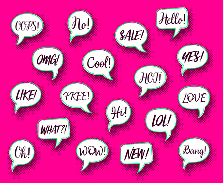 Retro vector comic speech bubbles chat expressions Stock Photo