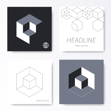 Vector minimalist cube design card cover templates
