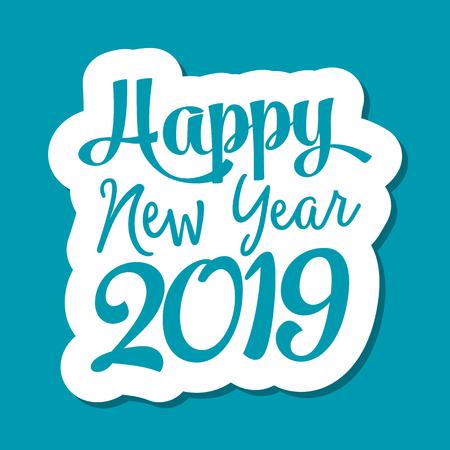 Happy new year 2019 text for greeting card Zdjęcie Seryjne
