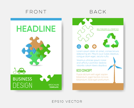 Vector brochure eco design template with puzzle
