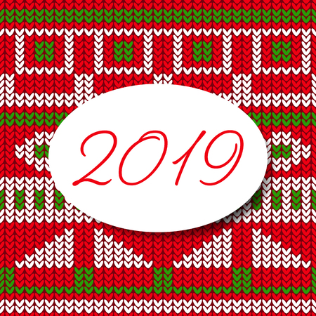 Happy new year 2019 card sweater pattern design