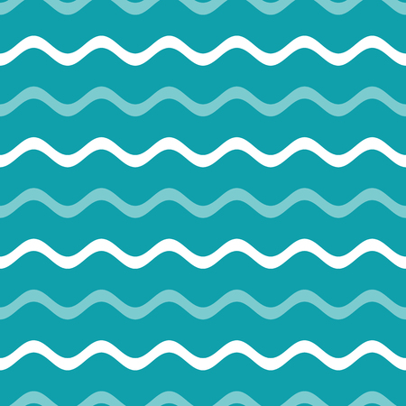 Simple blue vector seamless wavy line pattern