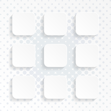 Modern vector blank white rounded square website buttons