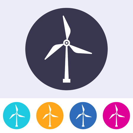 Single vector round abstract windmill energy sign icon