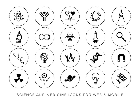 Modern vector scientific website and mobile icons Ilustracja