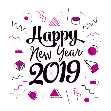 Creative vector happy new year 2019 memphis design