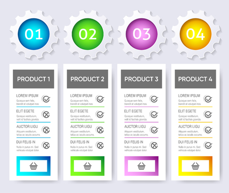 Colorful modern vector product pricing comparison design template Ilustracja