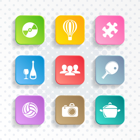 Abstract vector universal leisure web and mobile icons Ilustracja