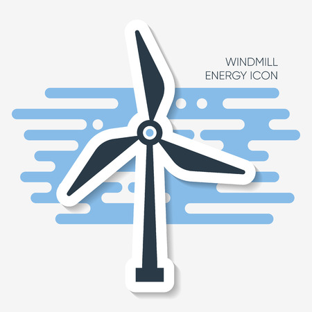 Vector abstract windmill energy sign label with shadow