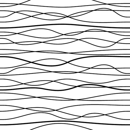 Black vector seamless irregular wavy line pattern isolated