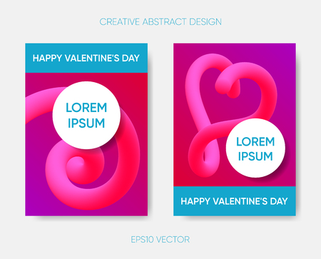 Happy valentine abstract design with fluid shapes Ilustracja