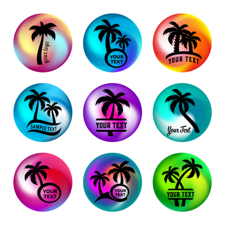 Rainbow ball like buttons with palm trees