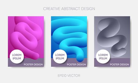 Vector abstract poster design fluid liquid shapes