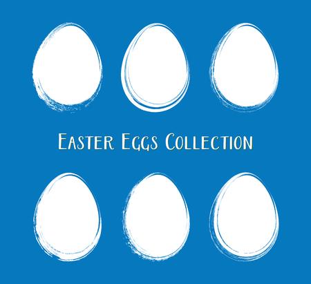 White vector easter egg silhouettes brush stroke style Ilustracja