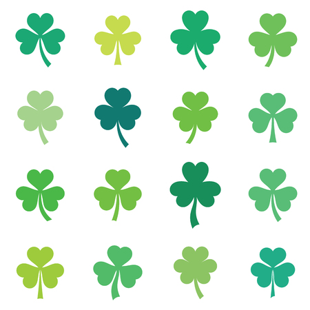 Abstract vector green clover leaves set isolated Illustration