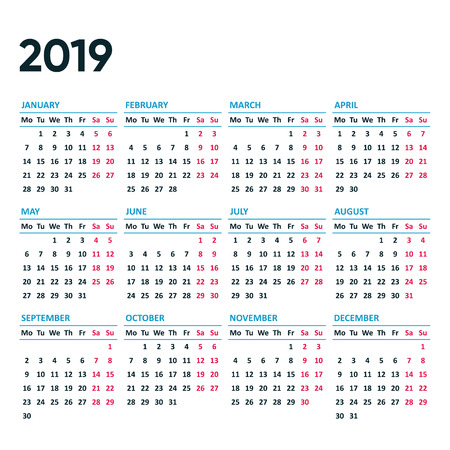 Simple vector 2019 calendar weeks start from monday