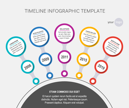 Circle vector timeline template of company history