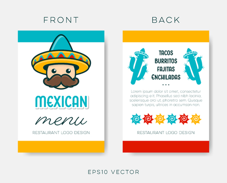 Vector mexican restaurant menu template on white Ilustracja
