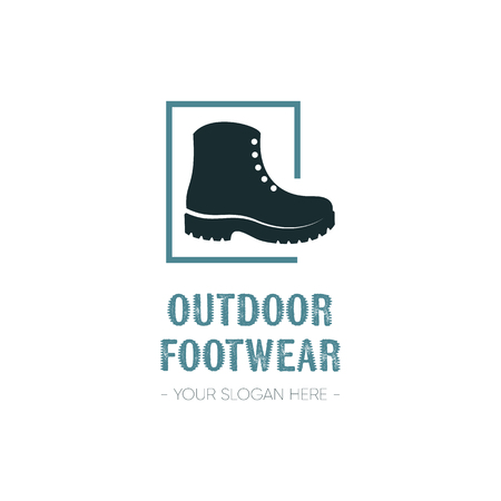 Outdoor footwear logo template design with boot