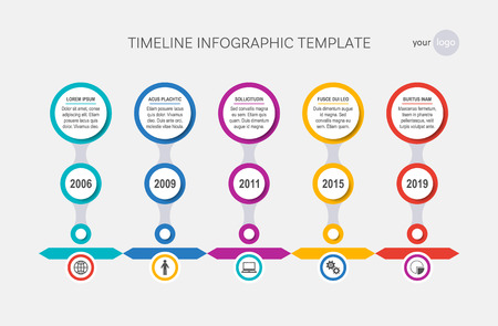 Vector timeline template history of your company