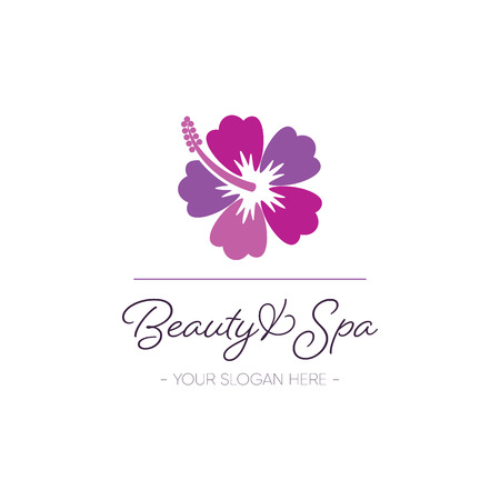 Beauty and spa logo template hibiscus design