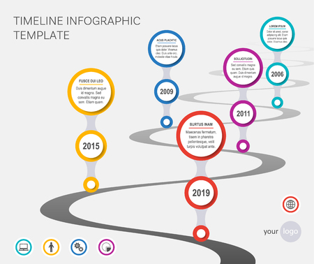 Vector company timeline template with wavy path Ilustracja