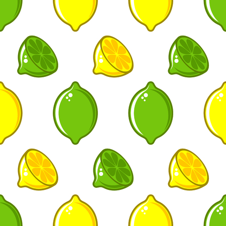Vector seamless pattern with lemon and lime illustrations Ilustracja