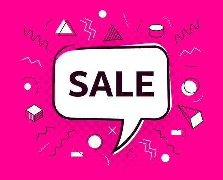 Vector sale speech bubble memphis geometric style poster