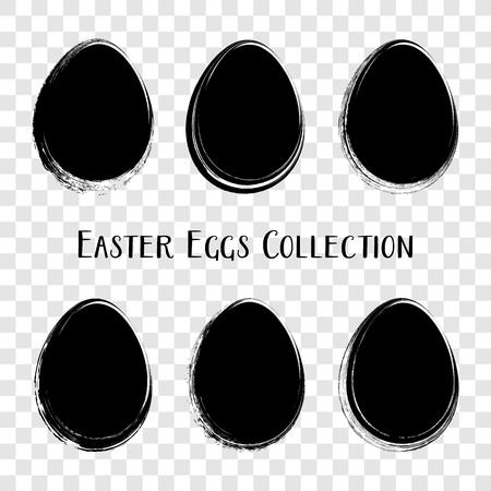 Black vector easter egg silhouettes brush stroke style Ilustracja
