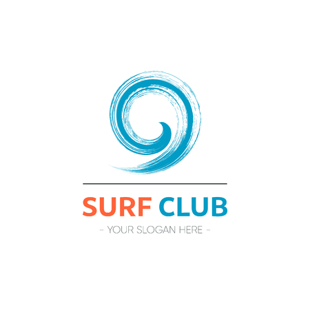 Surf club logo template design with abstract wave