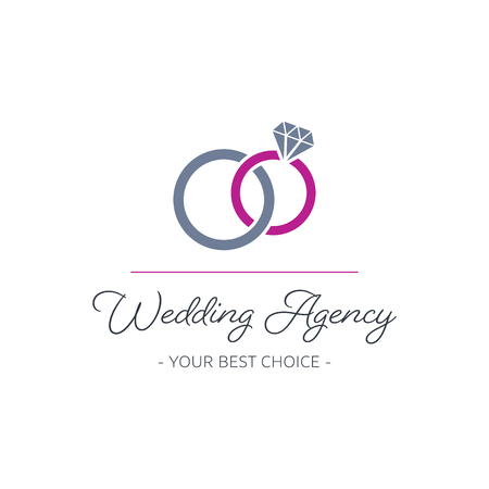 Vector wedding agency logo design with rings