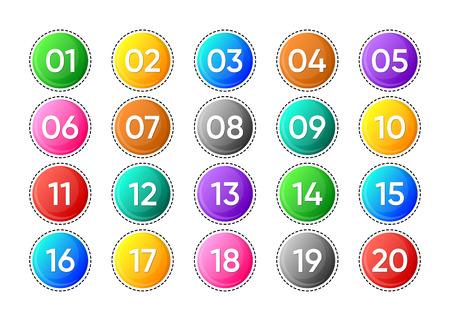 Venti icone di numeri vettoriali colorate su sfondo bianco