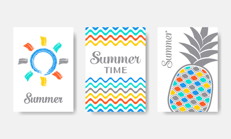 Simple colourful vector summer cards set isolated