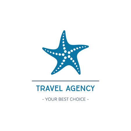 Vector travel agency logo design with starfish