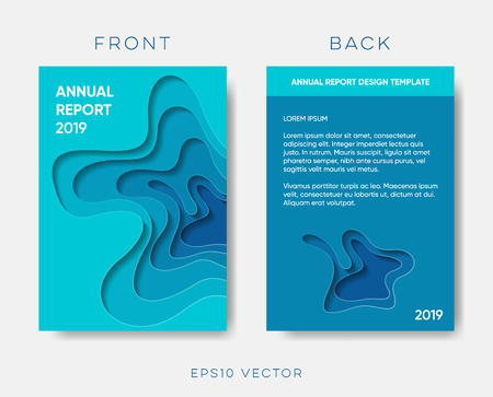 Annual report cover vector paper cut design