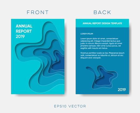 Diseño de corte de papel de vector de portada de informe anual