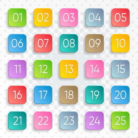 Twenty five colorful vector numbers square design