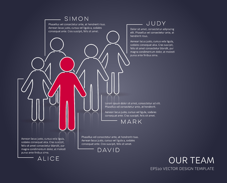 Vector infographic our team company modern set