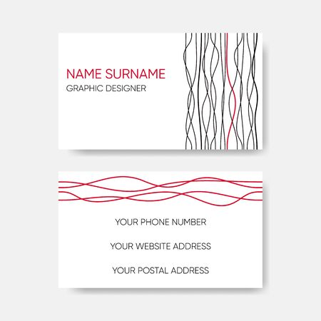 Vector business card abstract wavy line design Ilustracja