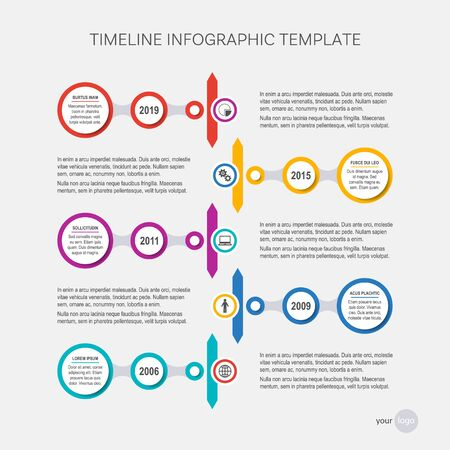 Vector timeline infographic design template your company milestones Ilustracja