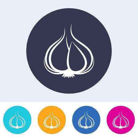 Simple vector round garlic icon on white Stock Illustratie