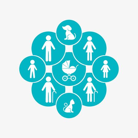 Modern vector family design template with icons