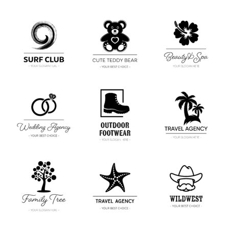 Black vector corporate business logo design set