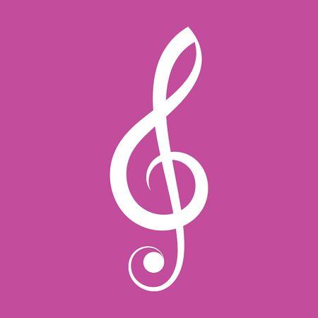 Simple elegant white vector treble clef icon isolated