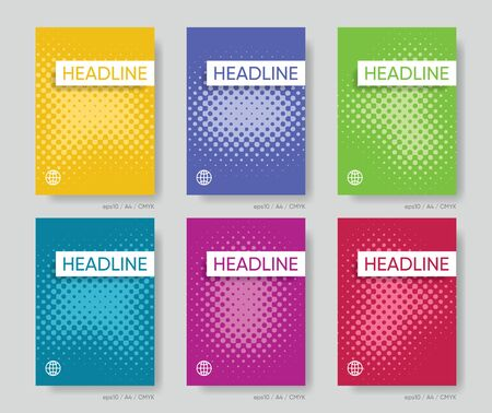 Abstract vector halftone cover design template set