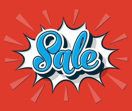 Vector comic speech bubble sale web promotion banner