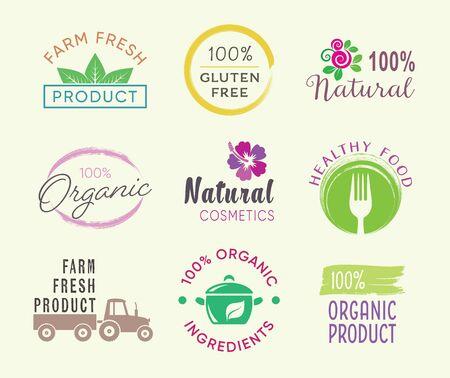 Vector de etiquetas de alimentos saludables y productos orgánicos Ilustración de vector