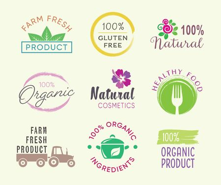 Vector healthy food and organic products labels Vetores